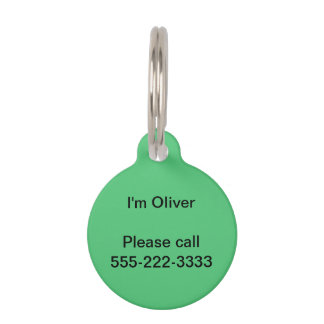Emerald Green Solid Color Pet Name Tag