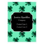Emerald Green Sparkles Shamrock Clover Monogram Large Business Card