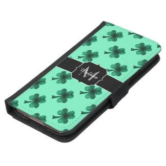 Emerald Green Sparkles Shamrock Clover Monogram Samsung Galaxy S5 Wallet Case