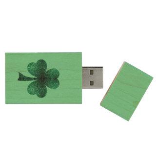 Emerald Green Sparkles Shamrock Clover turquoise Wood USB Flash Drive