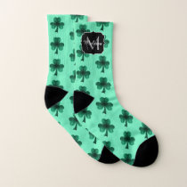 Emerald Green Sparkles Shamrock pattern Monogram Socks