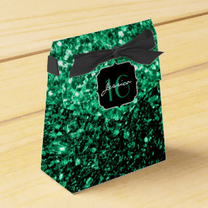 Emerald Green sparkles  favor box