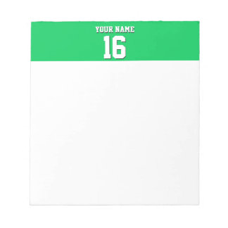 Emerald Green Sports Jersey Team Jersey Notepad