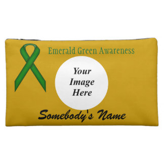 Emerald Green Standard Ribbon Template Cosmetic Bag