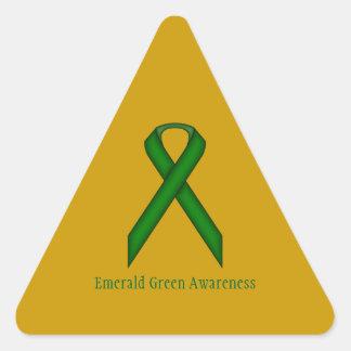 Emerald Green Standard Ribbon Triangle Sticker