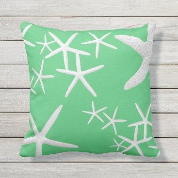 Beach Themed Emerald Green Starfish Decorative Throw Pillow