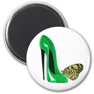 Emerald Green Stiletto Shoe and Butterfly 2 Inch Round Magnet
