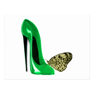 Emerald Green Stiletto Shoe and Butterfly Postcard