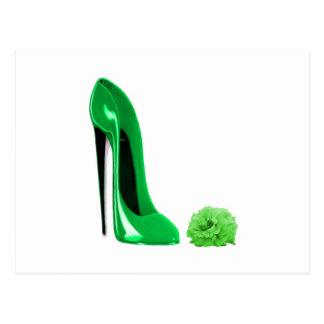 Emerald green stiletto shoe and rose postcard