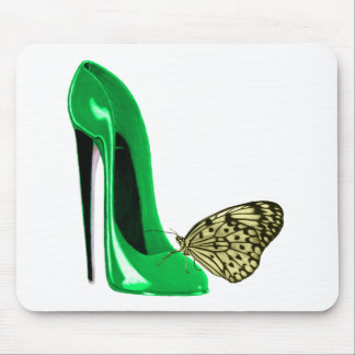 Emerald Green Stiletto Shoe and Yellow Butterfly Mouse Pad