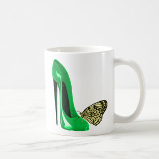 Emerald Green Stiletto Shoe and Yellow Butterfly Coffee Mugs