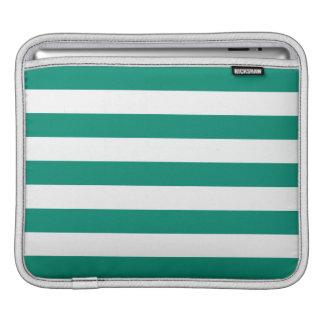 Emerald Green Stripes Pattern iPad Sleeves