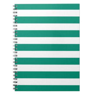 Emerald Green Stripes Pattern Notepad Spiral Notebook