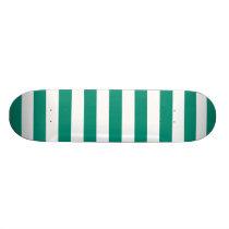 Emerald Green Stripes Pattern Skateboard