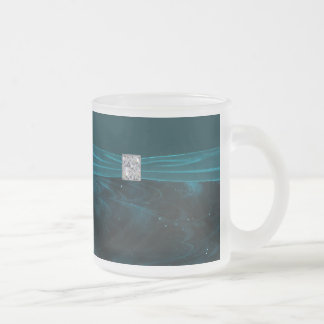 Emerald Green Swirls Wedding Frosted Glass Coffee Mug