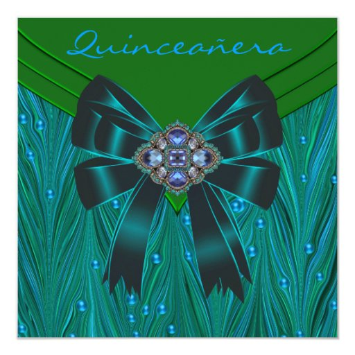 Emerald Green Teal Blue Quinceanera 5.25x5.25 Square Paper Invitation Card