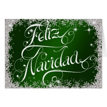 Emerald Green Typography Feliz Navidad Custom Card