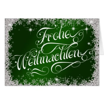 Emerald Green Typography German Frohe Weihnachten Card
