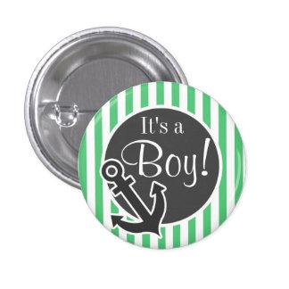 Emerald Green Vertical Stripes Anchor Button
