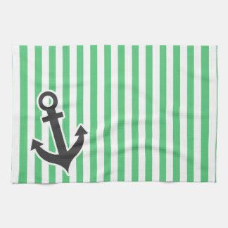 Emerald Green Vertical Stripes; Anchor Hand Towels