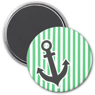 Emerald Green Vertical Stripes; Anchor 3 Inch Round Magnet