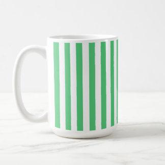 Emerald Green Vertical Stripes; Striped Classic White Coffee Mug