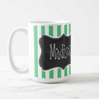 Emerald Green Vertical Stripes; Vintage Chalkboard Coffee Mug