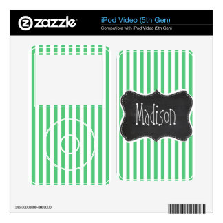 Emerald Green Vertical Stripes; Vintage Chalkboard iPod Video 5G Skin