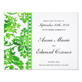 Emerald Green Vintage Damask Lace Save the Date Card