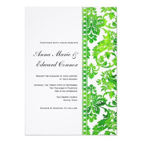 Emerald Green Vintage Damask Lace Wedding Invitation