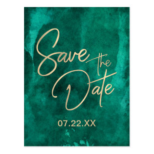 Emerald Green Watercolor Gold Save The Date Postcard