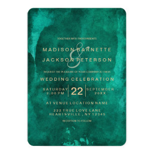 Emerald Green Watercolor Gold Wedding Invitations