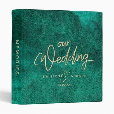 Emerald Green Watercolor Gold Wedding Photo Album 3 Ring Binder