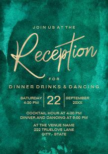 Emerald Green Watercolor Gold Wedding Reception Invitation