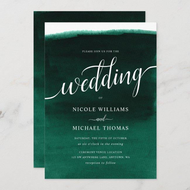 Emerald Green Watercolor Wedding Invitation