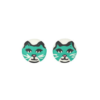 EMERALD GREEN & WHITE CAT With White Whiskers Earrings