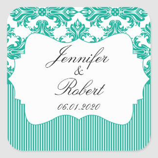 Emerald Green White Damask Wedding Envelope Seal