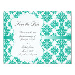 Emerald Green White Damask Wedding Save the Date Card