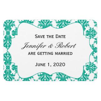 Emerald Green White Damask Wedding Save the Date Rectangular Photo Magnet