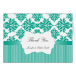 Emerald Green White Damask Wedding Thank You Stationery Note Card
