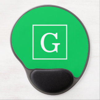 Emerald Green White Framed Initial Monogram Gel Mouse Pad