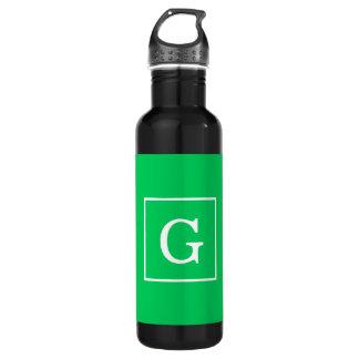 Emerald Green White Framed Initial Monogram 24oz Water Bottle