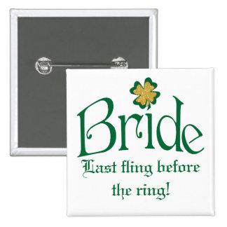 Emerald Green, White, Gold Shamrocks Bride Button
