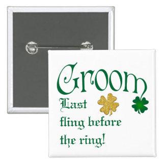 Emerald Green, White, Gold Shamrocks Groom Button