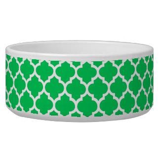 Emerald Green White Moroccan Quatrefoil Pattern #5 Bowl