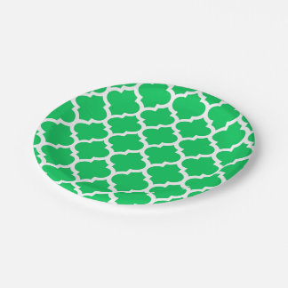 Emerald Green White Moroccan Quatrefoil Pattern #5 Paper Plate