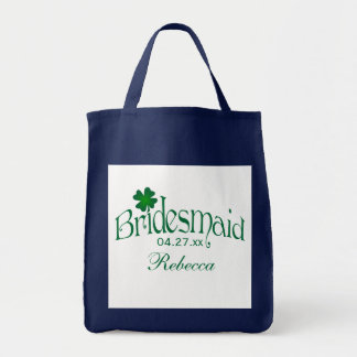 Emerald Green, White Shamrock Bridesmaid Bag