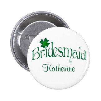 Emerald Green, White Shamrock Bridesmaid Button