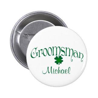 Emerald Green, White Shamrock Groomsman Button