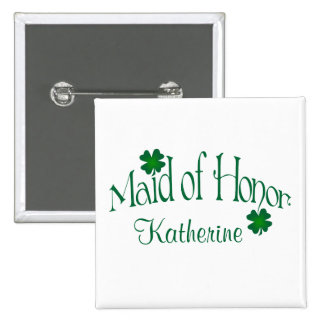 Emerald Green, White Shamrock Maid of Honor Button